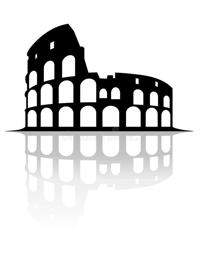 Colosseum monument med spegeleffektvektorn på vit bakgrund vektor illustrationer