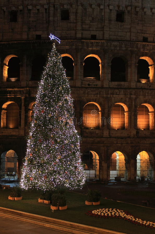 Colosseum by night in Christmas time royalty free stock photo