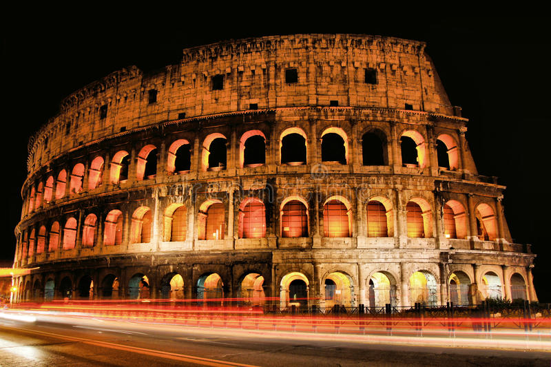Colosseum at night royalty free stock photos