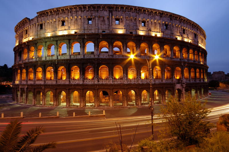 Colosseum, at night, landmark attraction in Rome - Italy. Colosseum by night - landmark attraction in Rome, Italy royalty free stock image