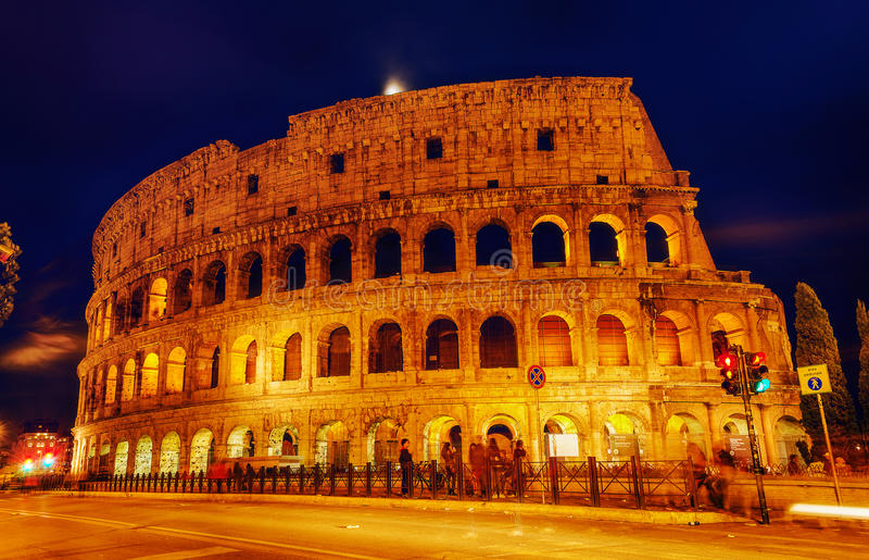 Colosseum at Night stock photo