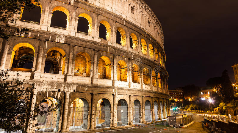The Colosseum at night, Rome, Italy stock image