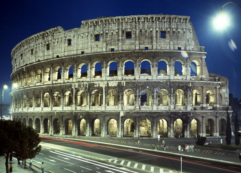 Colosseum at night, Rome. stock photo