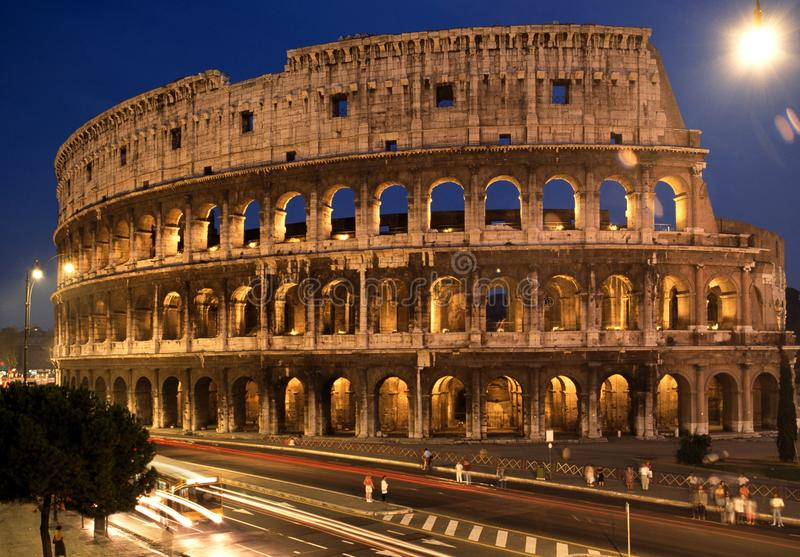 Colosseum at night, Rome. stock photography