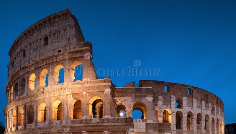 Colosseum Night View in Rome, Italy royalty free stock photography