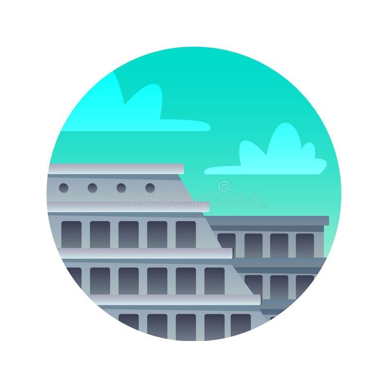 Colosseum plan symbol Gränsmärke av Italien, Roma, historiska sikt vektor illustrationer