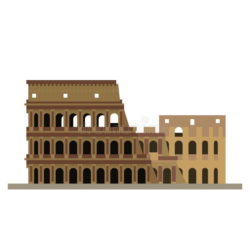 Colosseum przy Rzym projekta wektoru płaską ikoną royalty ilustracja