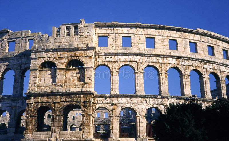 Colosseum in Pula stock image