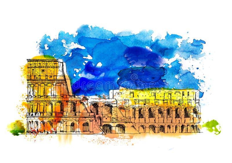 Colosseum in Rom, Italien Skizze mit bunten Wasserfarbeffekten Th-römisches Forum stockfotografie