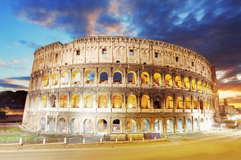 Colosseum in Roma, Italy. At night royalty free stock photography