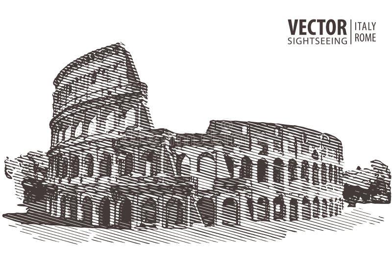 Colosseum romano Roma, Italy, Europa Curso Arquitetura e l ilustração stock