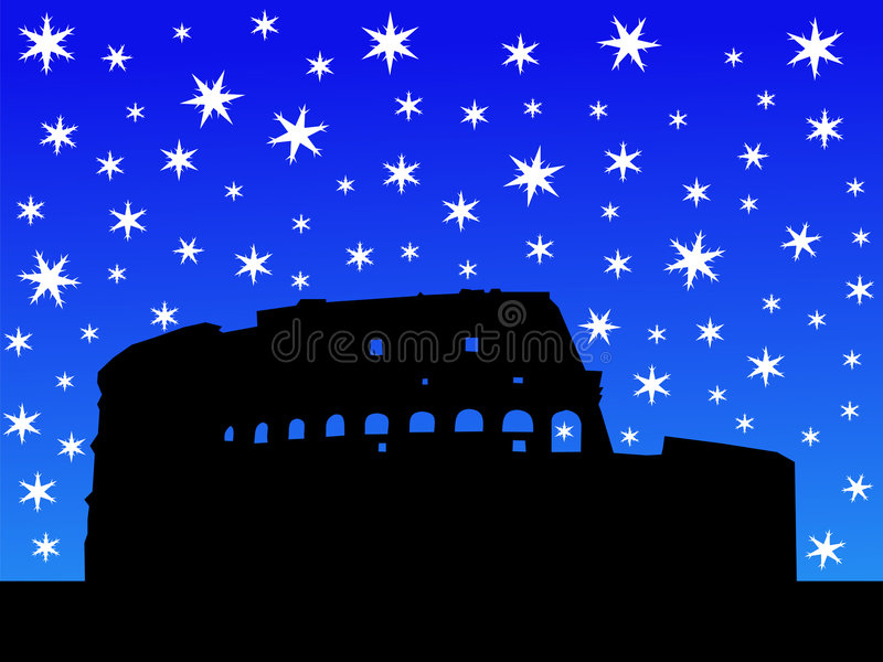 Colosseum Rome in de winter stock illustratie