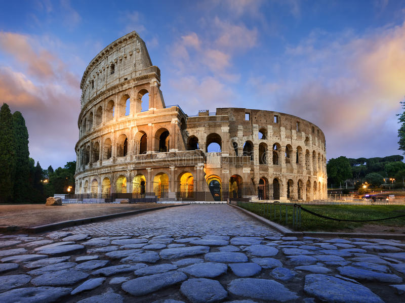 Colosseum in Rome at dusk royalty free stock photo