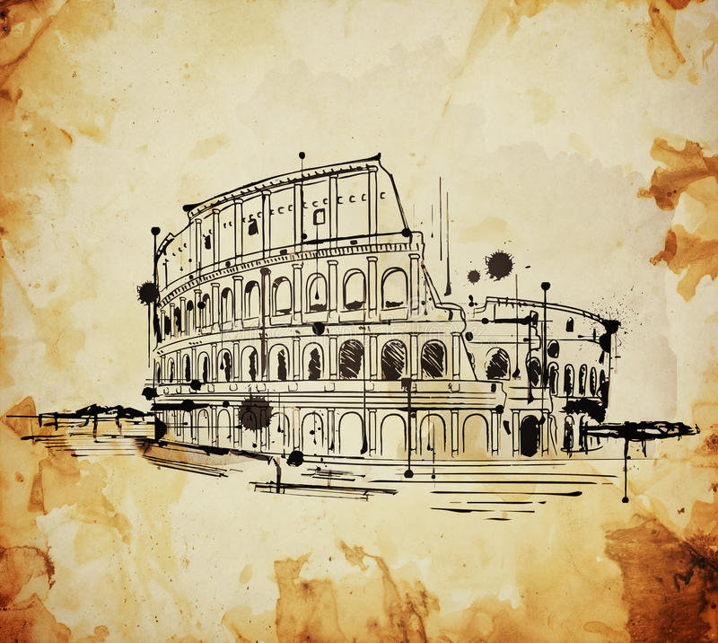 Colosseum Rome, Italien tappning skissar stock illustrationer