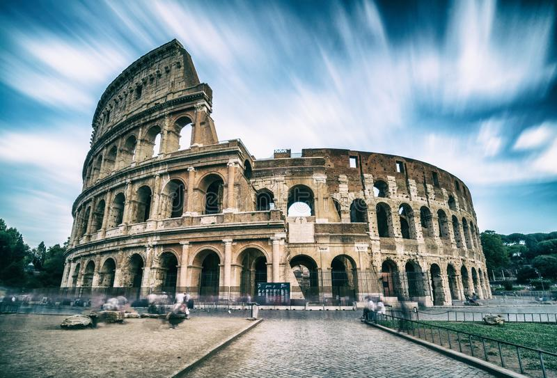 Colosseum in Rome, Italy - Long Exposure Shot. The Rome Colosseum was built in the time of Ancient Rome in the city center. It is the main travel destination stock images