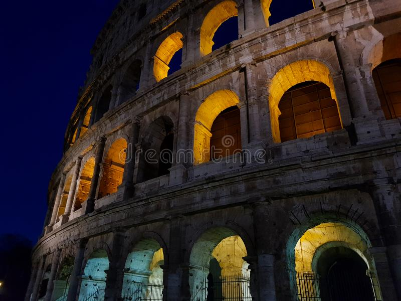 Colosseum in Rome Italy at Night Most. most popular and famous landmark royalty free stock images