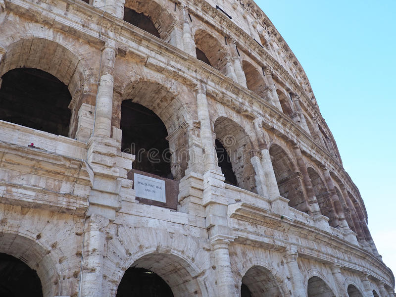 The Colosseum, Rome, Italy. From outside the Colosseum, Rome, Italy stock photo