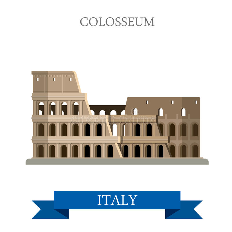 Colosseum in Rome Italy Romanian heritage. Flat cartoon style historic sight showplace attraction POI web site vector illustration royalty free illustration