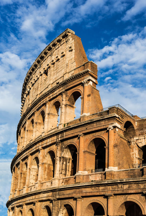 Colosseum, Rome. Italy. Twilight detail view of Coliseum, elliptical Flavian Amphitheatre largest in Roman Empire built in 80AD by Emperor Vespasian royalty free stock photos