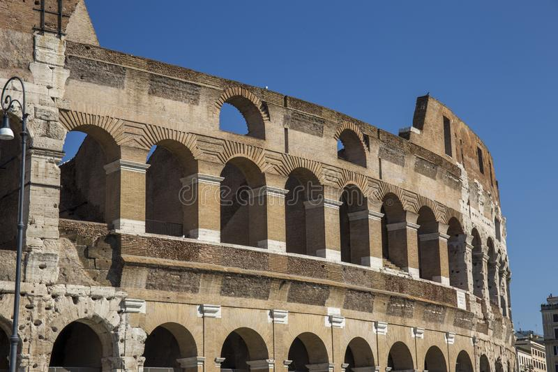 Colosseum in Rome during morning hours, bright and light. Italy royalty free stock photos