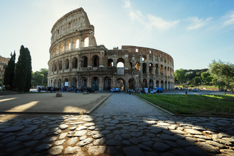Colosseum in Rome and morning sun, Italy stock images