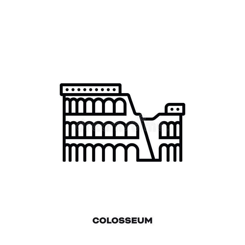 Colosseum Rzym wektoru linii ikona ilustracji
