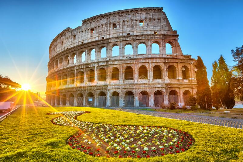 Colosseum at sunrise stock image