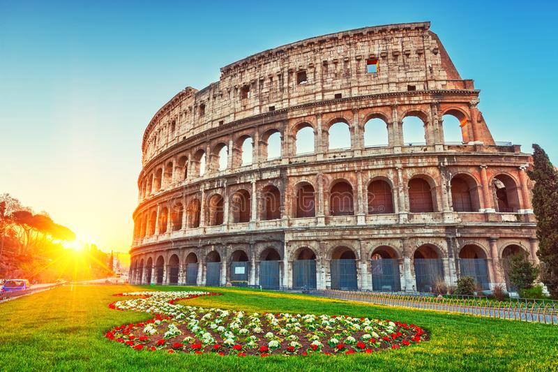 Colosseum at sunrise stock photography