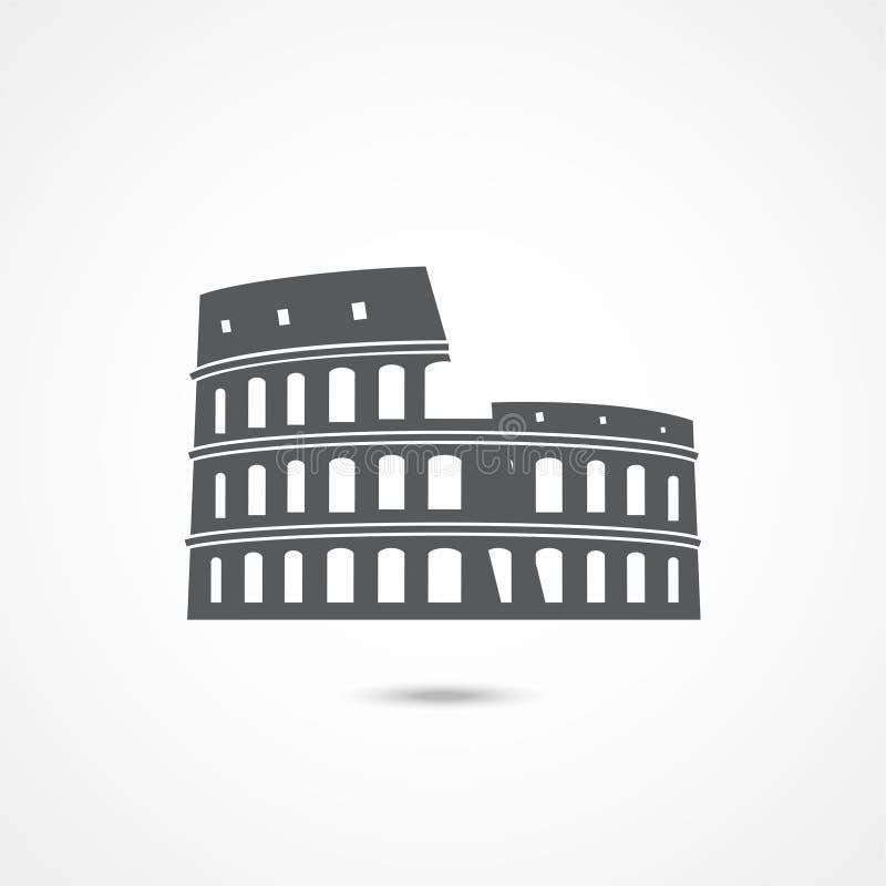 Colosseum symbol på vit vektor illustrationer