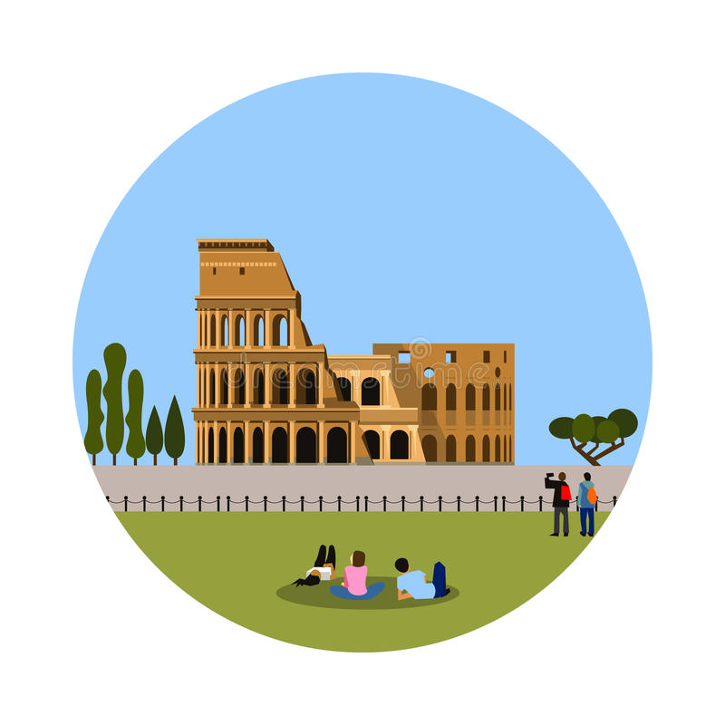 Colosseum symbol som isoleras på vit bakgrund stock illustrationer