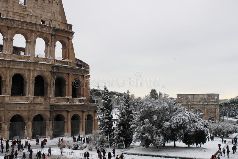 Colosseum under snow royalty free stock image
