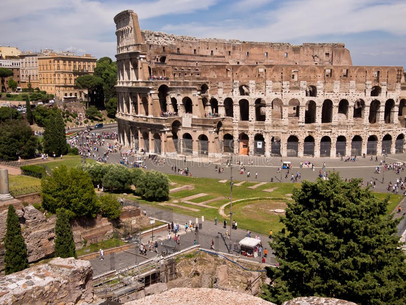 Colosseum van Palatine Heuvel Rome Italië royalty-vrije stock fotografie