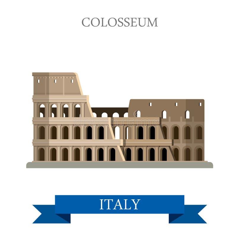 Colosseum w Rzym Włochy Rumuńskim dziedzictwie Płaskiego kreskówka stylu showplace przyciągania POI strony internetowej wektoru h royalty ilustracja