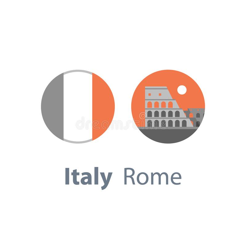 Colosseum widok, Włochy, Rzym symbol, podróży miejsce przeznaczenia, sławny punkt zwrotny, turystyki pojęcie, round włoszczyzny f ilustracja wektor