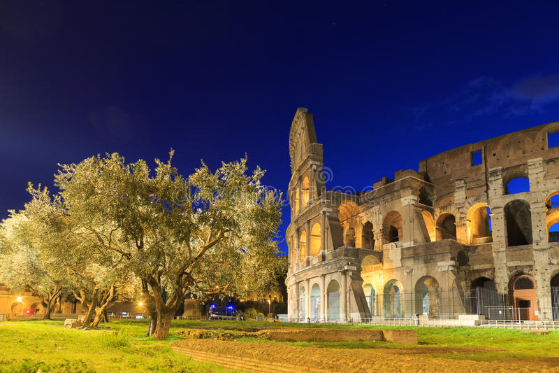 colosseumitaly natt rome italy rome fotografering för bildbyråer