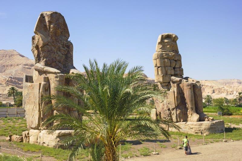 Colossi Memnon, Dolina Królewiątka, Luxor, Egipt obrazy stock