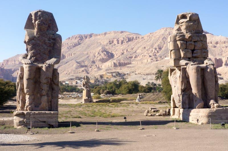 The colossi of Memnon Luxor stock images
