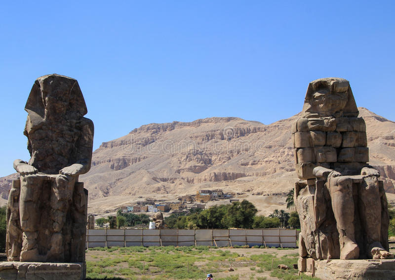 Colossi van Memnon royalty-vrije stock foto's