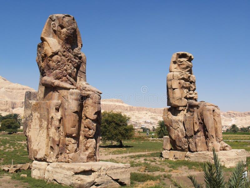 Colossi van Memnon in Thebes stock foto's