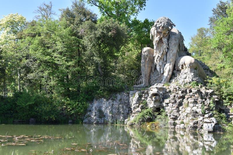 The Colosso dell`Appennino del Giambologna 1580, sculpture located in Florence in the public park of Villa Demidoff. In Pratolino Firenze Tuscany stock photography