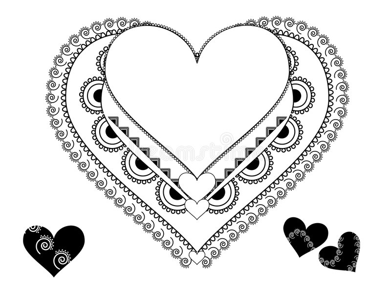 Colouful Henna Heart Frame Stock Images