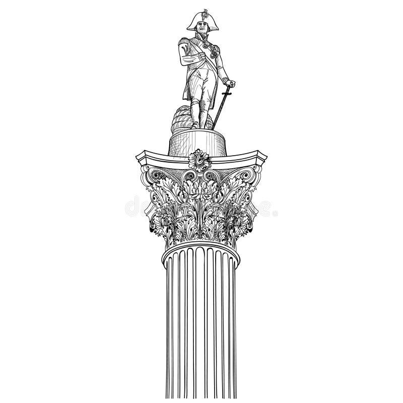 Colounm de Nelson aislado Estatua de almirante Nlson en Trafalgar Squar ilustración del vector