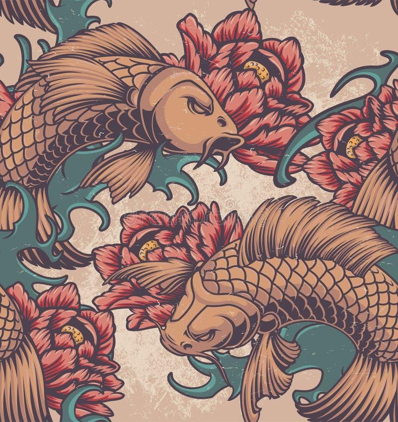 Colour bezszwowy wzór na Japońskim temacie ilustracja wektor