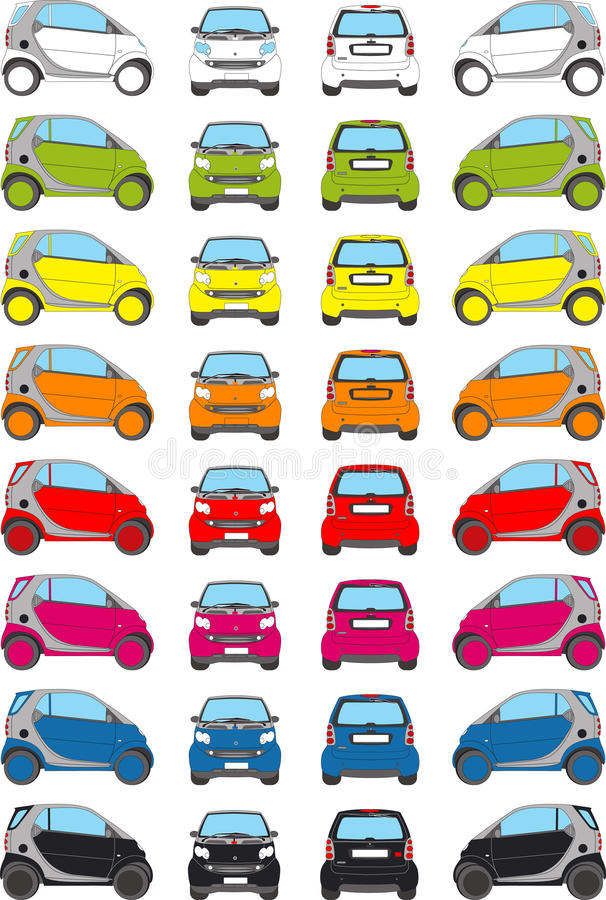 Colour car icons vector illustration