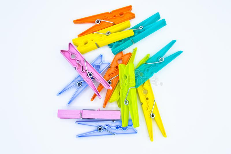 Colour clothes peg. Home equipment. Plastic. stock photography