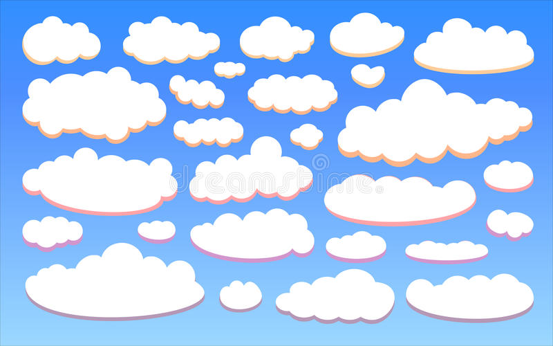 Colour clouds isolated on blue sky background set. Vector royalty free illustration