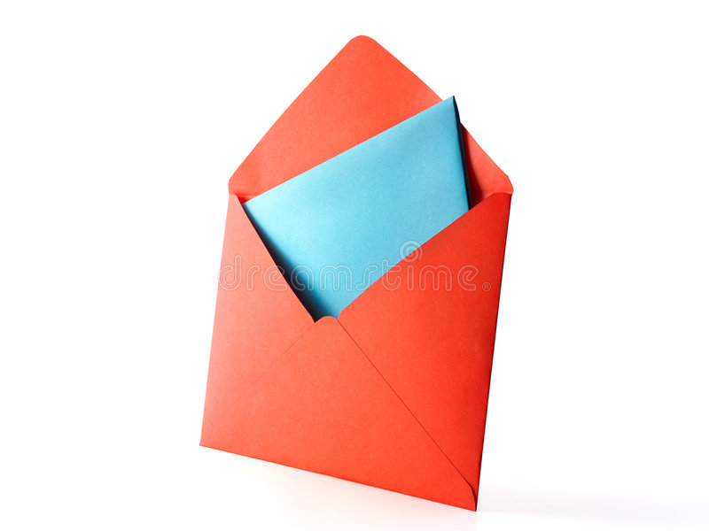 Colour envelope. In full sharpness isolated on white background