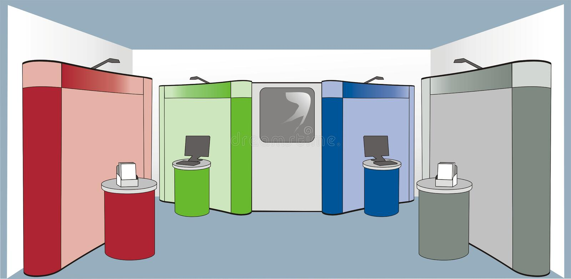 Colour exhibition stand vector illustration