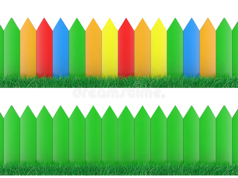 Download Colour fence and grass stock illustration. Image of plant - 14950221