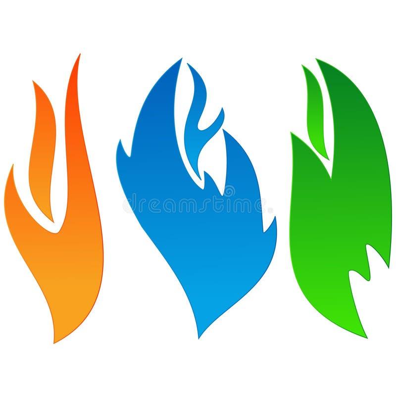 Colour flammar logo vektor illustrationer